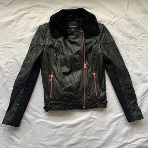 Trouvé leather and scuba jacket w/Sherpa collar